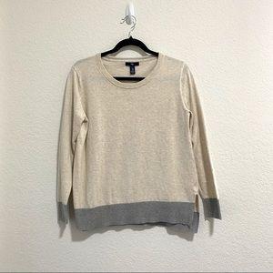 GAP Cream Crewneck Sweater Pullover w Colorblock Gray Details Size M